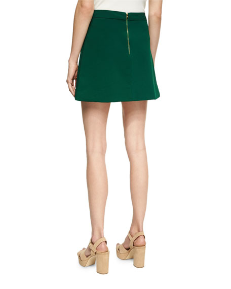 Lennon Side-Zip Tulip Mini Skirt, Green Multi