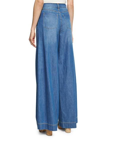 Clarissa Wide Leg Side-Slit Jeans, Blue