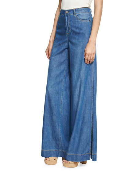 Alice + Olivia Clarissa Wide Leg Side-Slit Jeans,