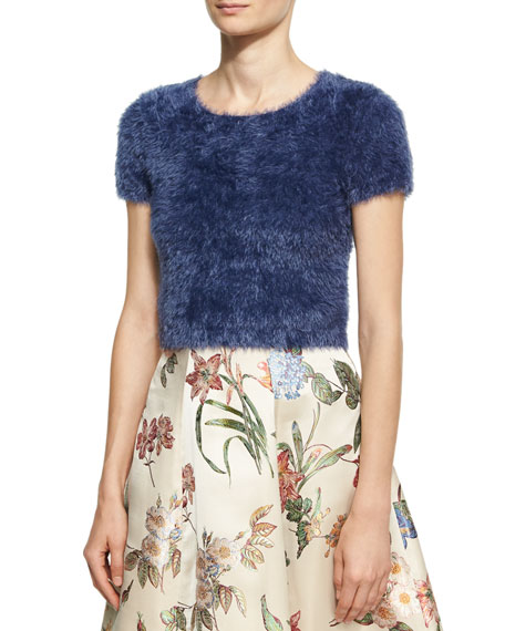 Alice + Olivia Ciara Furry Short-Sleeve Sweater, Blue