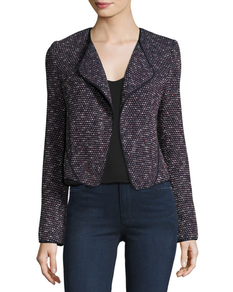 Derek Lam 10 Crosby Long-Sleeve Tweed Cardigan Jacket, Navy