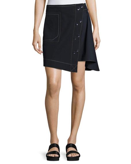Derek Lam 10 Crosby Asymmetric A-line Combo Skirt,