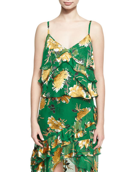 Alice + Olivia Vannessa Tiered Cami Top, Green