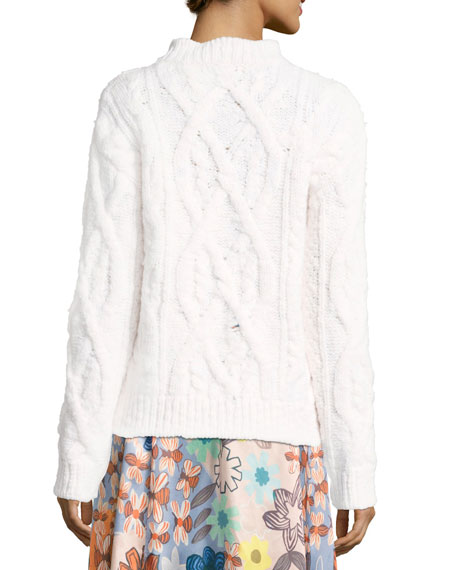 Edyta Wool Cable-Knit Sweater, Ivory