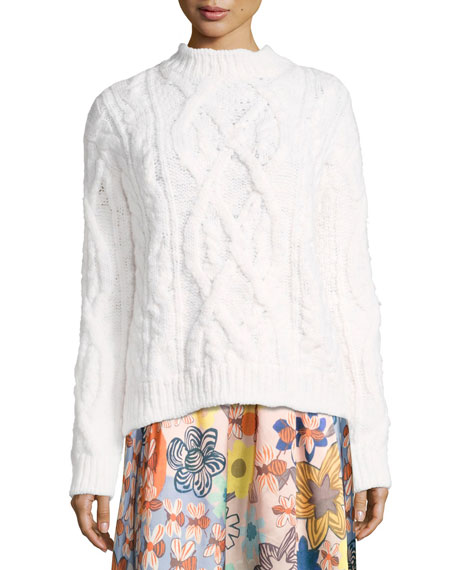 Acne Studios Edyta Wool Cable-Knit Sweater, Ivory