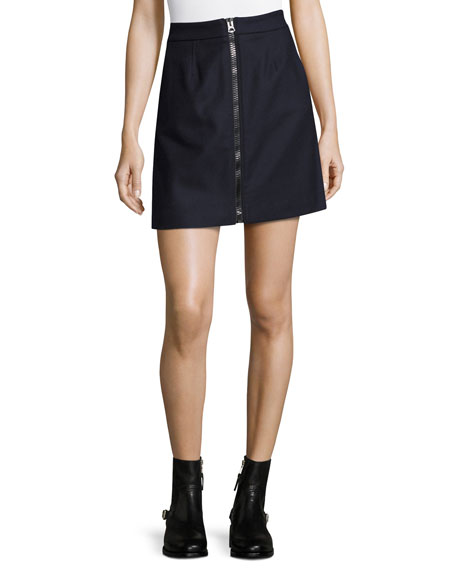Acne Studios Suraya Flannel Zip-Front Miniskirt, Navy and