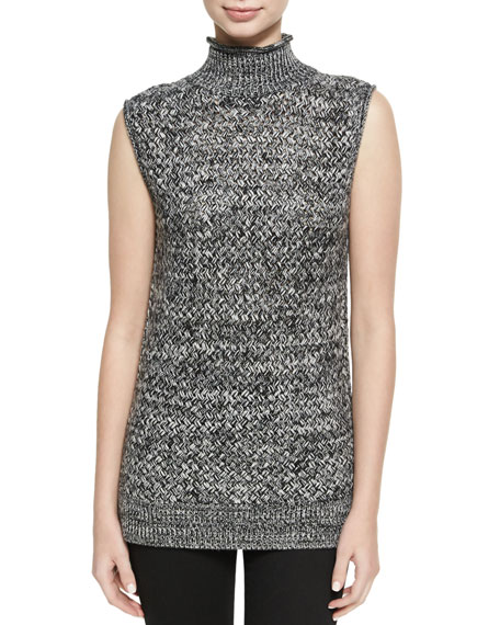 Alice + Olivia Abbot Sleeveless Basketweave Mock-Neck Sweater,