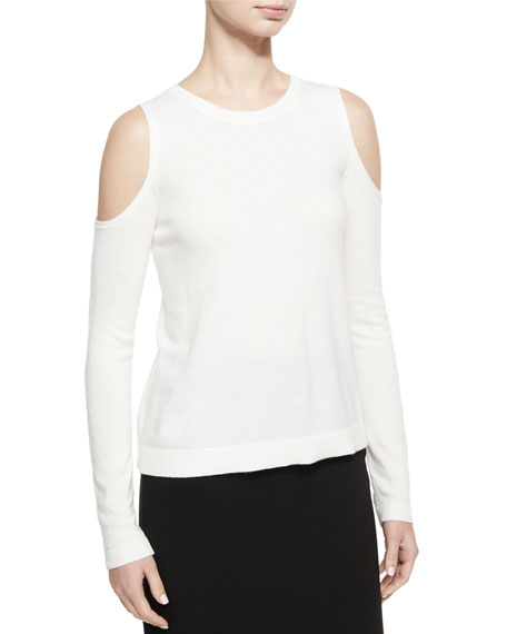Alice + Olivia Wade Cold-Shoulder Pullover Sweater, White