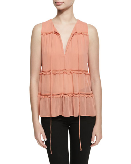 Alice + Olivia Massie Sleeveless V-Neck Boho Blouse,