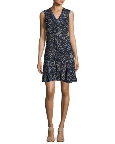 Sleeveless Cascade Ruffle Silk Dress, Navy
