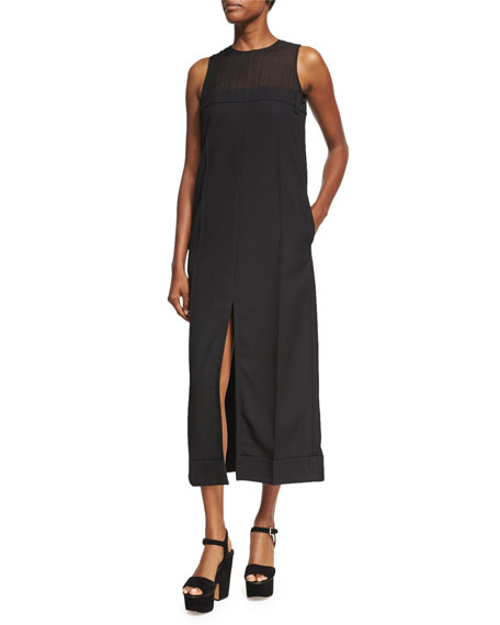 Acne Studios Daran Slit-Front Wool Midi Dress, Black