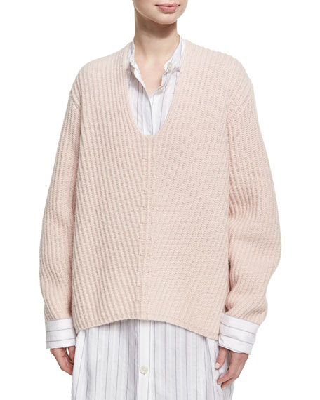 Acne Studios Deborah Oversized Wool V-Neck Sweater, Light Pink