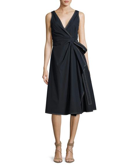 Derek Lam 10 Crosby Wrap Cotton Dress W/