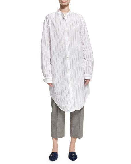 Acne Studios Deide Pinstripe Cotton Tunic Shirt, White