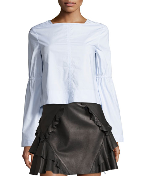 Derek Lam 10 Crosby Long-Sleeve Boxy Top W/