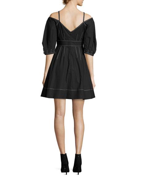 Off-the-Shoulder Cotton Dress, Black
