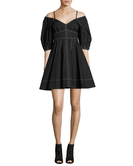 Derek Lam 10 Crosby Off-the-Shoulder Cotton Dress, Black
