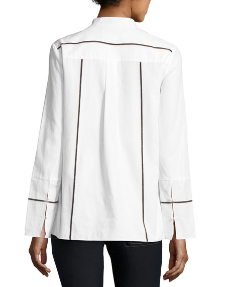 Long-Sleeve Ruffle Front Cotton Shirt, White