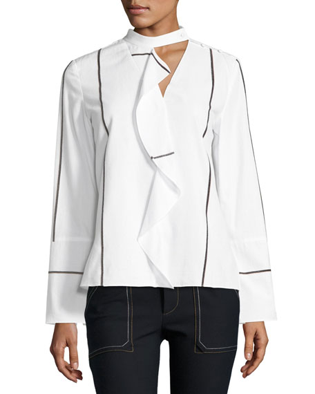Derek Lam 10 Crosby Long-Sleeve Ruffle Front Cotton