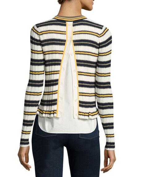 Striped Crew Neck Combo Sweater, Blue Pattern