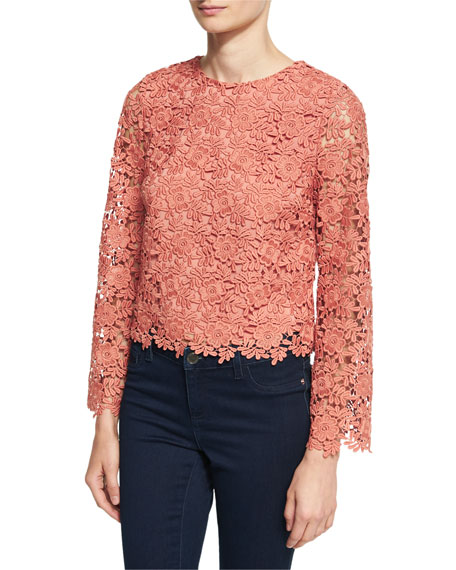 Alice + Olivia Pasha Long-Sleeve Jewel-Neck Blouse Top,