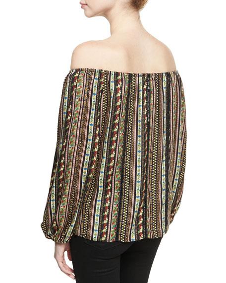 Saydee Lace Combo Peasant Blouse Top, Multi