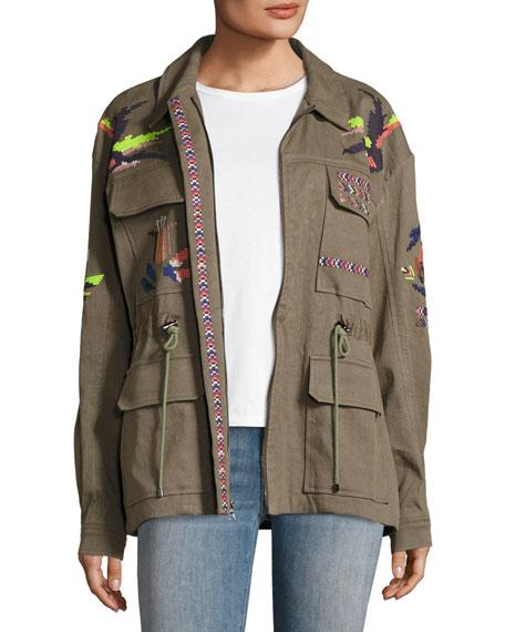 Tanya Taylor Alina Embroidered Cotton Linen Twill Jacket,
