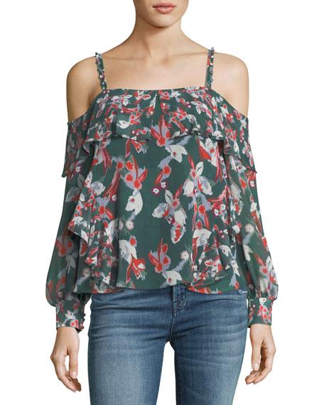 Tanya Taylor Designs Daisy Floral Ikat Silk Gauze