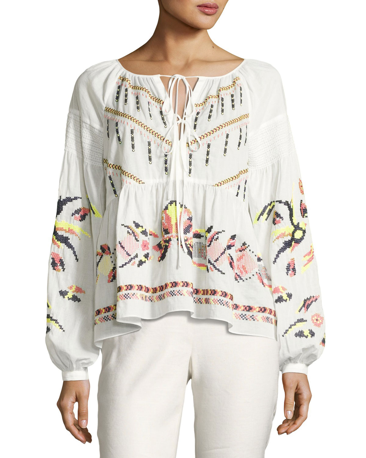 Tanya Taylor Clemence Cross Stitch Embroidered Top White Neiman
