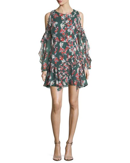 Tanya Taylor Laine Cold-Shoulder Floral-Ikat Gauze Silk Dress