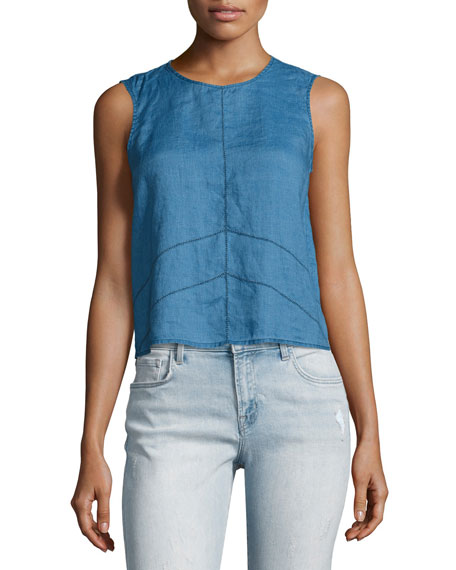 J Brand Saia Sleeveless Linen Chambray Top, Blue