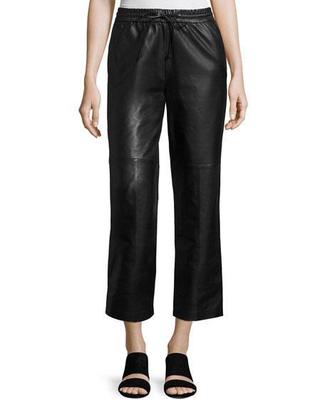 J Brand Amari Drawstring Leather Pants, Black
