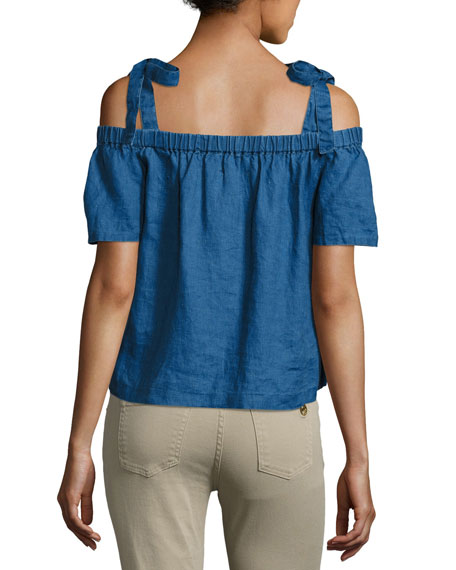 Evonie Short-Sleeve Linen Top, Blue