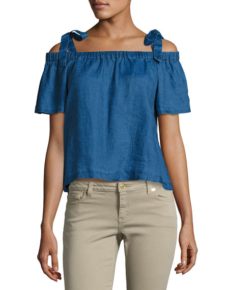 J Brand Evonie Short-Sleeve Linen Top, Blue