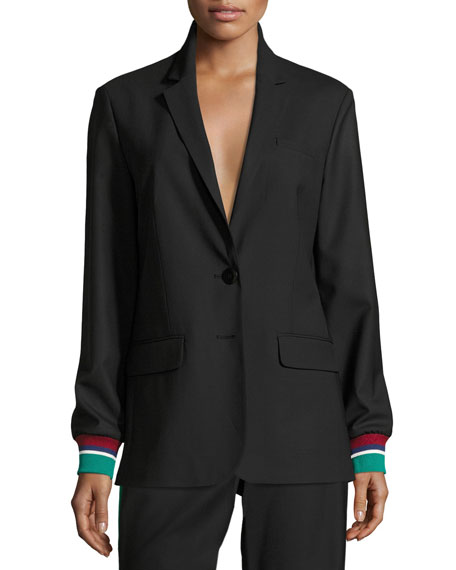 Tibi Dempsey Two-Button Suiting Blazer, Black
