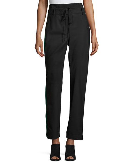 Tibi Dempsey Striped-Sides Suiting Pant, Black
