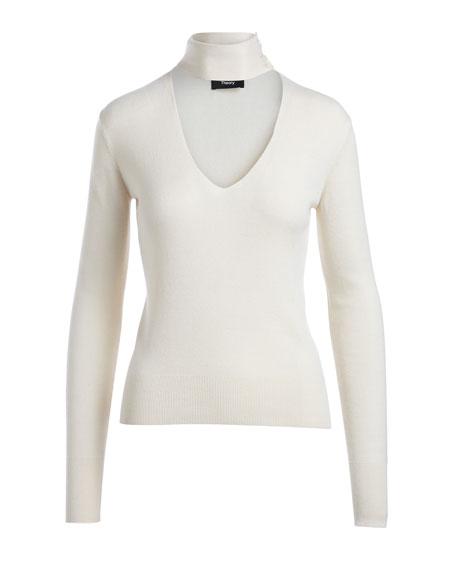 Choker Collar V Front Cashmere-Silk Sweater