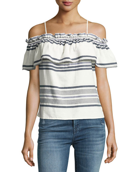 Splendid Traveler Striped Off-the-Shoulder Top, White