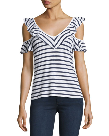 Splendid French Striped Cold-Shoulder Ruffled Top, White/Blue