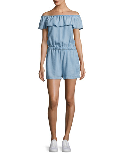 Off-The-Shoulder Chambray Romper, Light Blue