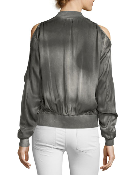 Jester Cold-Shoulder Silk Bomber Jacket