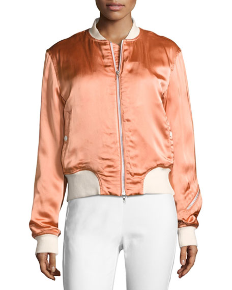 Morton Sateen Bomber Jacket, Pink