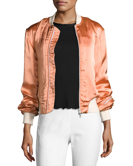 Rag & Bone Morton Sateen Bomber Jacket, Pink
