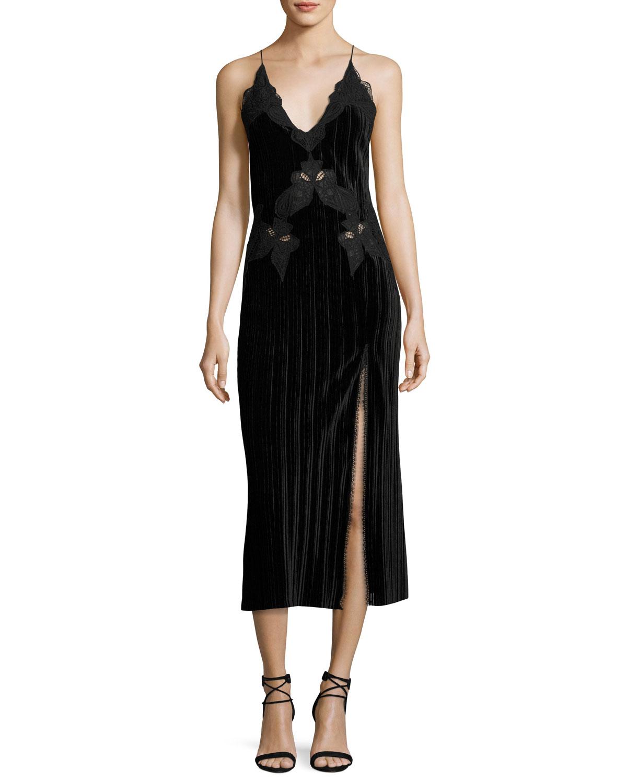 V-neck lace-trimmed velvet dress Jonathan Simkhai lpAvSI7rf