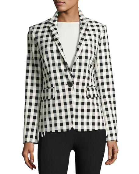 Rag & Bone Archer Single-Button Check Blazer, Black/White
