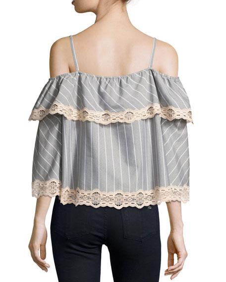 Bold Stripe Poplin Off-the-Shoulder Blouse, Gray