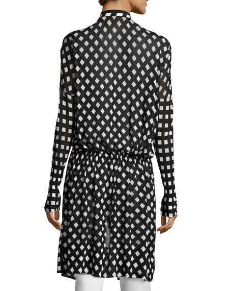 Michaela Printed Robe Cardigan, Black/White