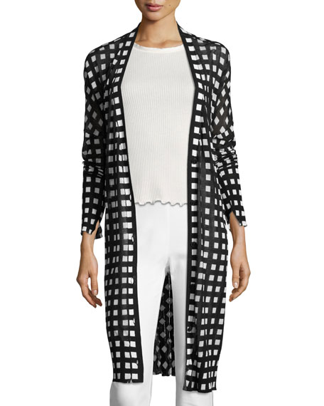 Rag & Bone Michaela Printed Robe Cardigan, Black/White