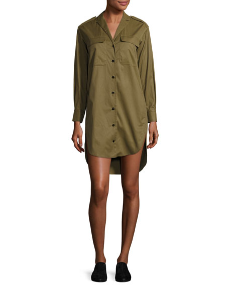 Mason Long-Sleeve Shirt Dress, Olive