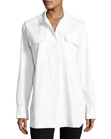 rag & bone/JEAN Mason Button-Front Poplin Shirt Tunic,